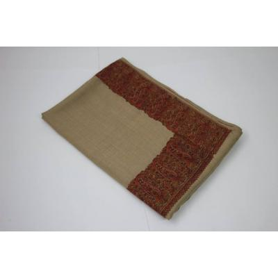 Almond Color with Heavy Hand Embroidery on Border Pashmina Shawl for Women