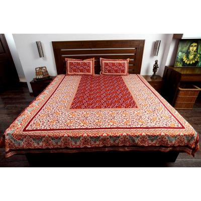 Block Printed Bed Sheet Maroon and White combination