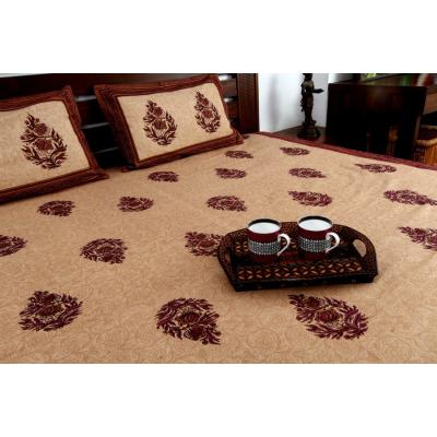 Block Printed Bed Sheet Light Brown and Dark Brown Combination