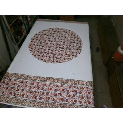 Block Printed Bed Sheet White and Brown