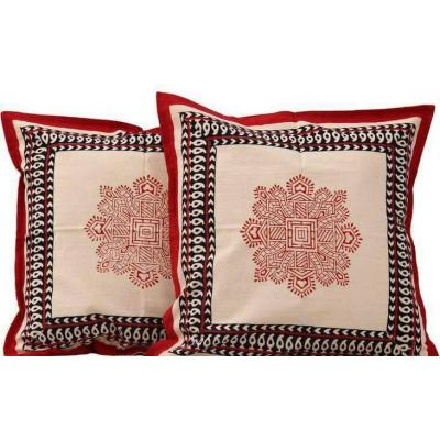 Block Printed Pair of Cushion Covers White and Red