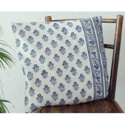 Block Printed Pair of Cushion Covers White and Blue