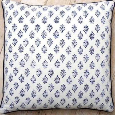 Block Printed Pair of Cushion Covers White