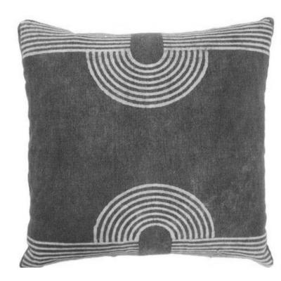 Block Printed Pair of Cushion Covers Black With White Shades