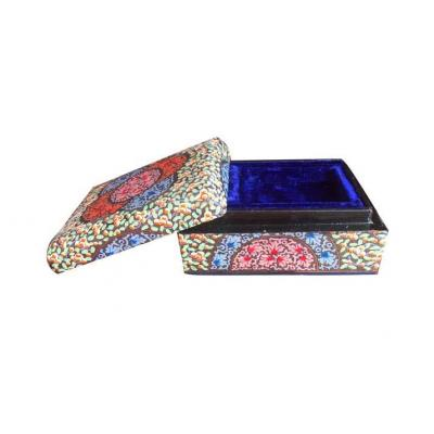 Beautiful Traditional Multi Color Round Flower Design Paper Mache Jewelry Box for Her
