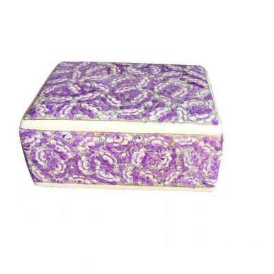 Beautiful Traditional Purple Color Flower Design Paper Mache Jewelry Box for Her