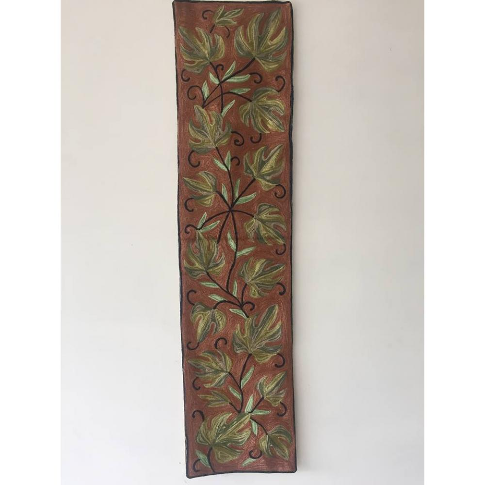Beautiful Traditional Brown Color Table Runner Or Wall Hanging With All Over Fl Hand Embroidery