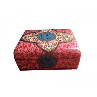 Beautiful Traditional Pink Color Paper Mache Jewelry Box for Her