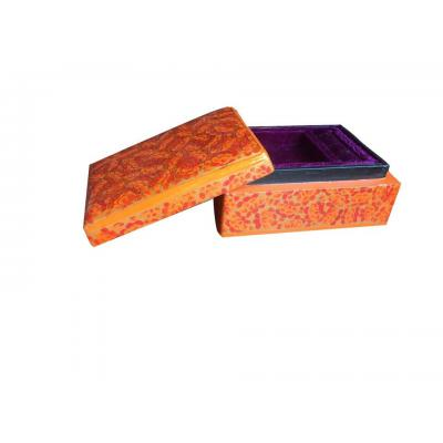 Beautiful Traditional Orange Color Paper Mache Jewelry Box for Her