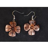 Flower Shape Camel Bone Earrings