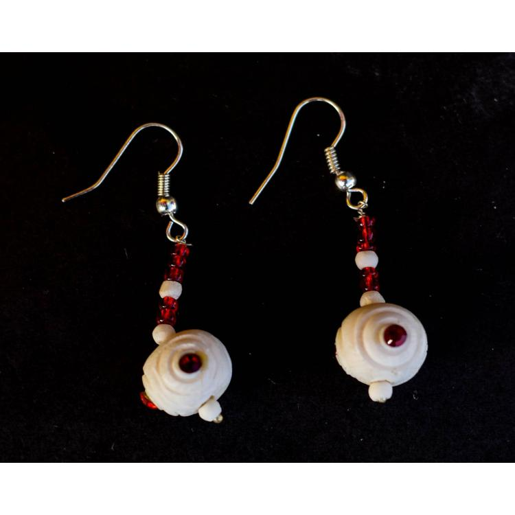 Camel Bone and Bead Craved Earrings