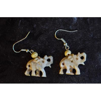 Elephant  Shape Camel   Bone Earrings