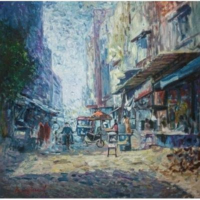Beautiful Color Combination City Scape Oil Painting on Canvas