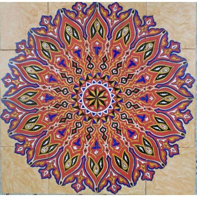 Beautiful Orange & Purple Color Round Shape Decorative Ceramic Hand Painted Panel Tile