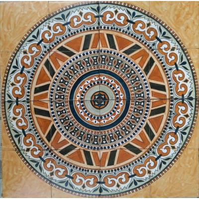 Beautiful Brown Color Round Shape Decorative Ceramic Hand Painted Panel Tile