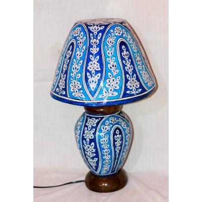 Camel Skin  Blue Lamp and Shade