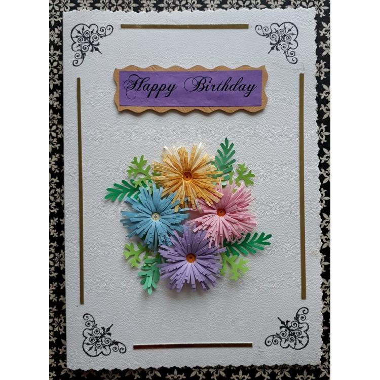 Beautiful Handmade Flower Design Birthday Card For Him Or Her