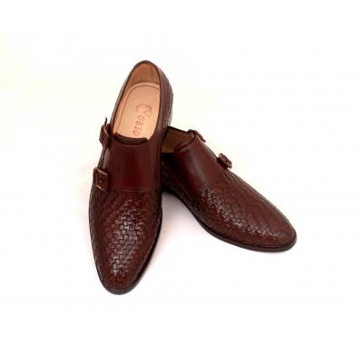 Burgundy Brown Double Monk Men Shoe