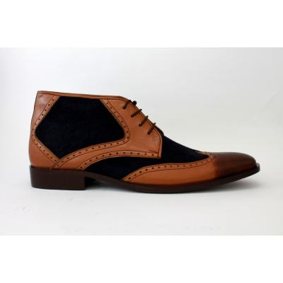 Ankle High shoe Mustard and blue