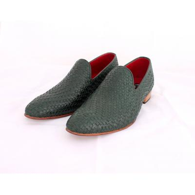 Handmade Men Green Loafers