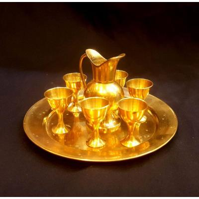 Brass miniature aftaba set