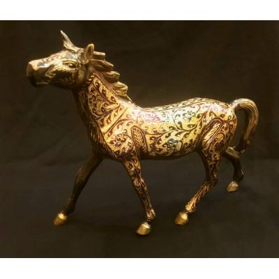 Brass large handcrafted horse, a master craft piece