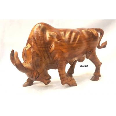 Fency bull hand carved on sheesham wood