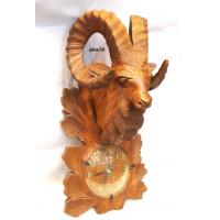 Markhoor head with clock hand carved on shesham wood