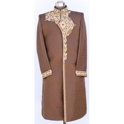 Men's Sherwani Jamawar Chocolate