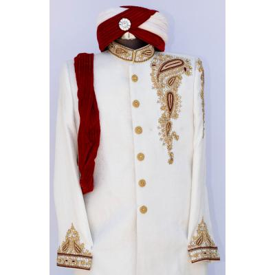 Men's Sherwani Jamawar White