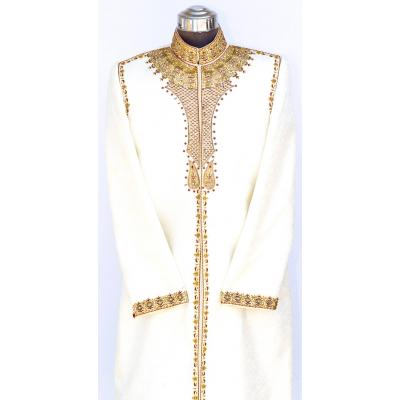 Men's Sherwani Jamawar Off White