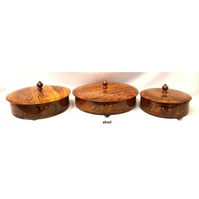 Set of three fancy pot made of sheesham wood, carved multi use, inlay work