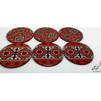 Ajrak Printed customized Coaster Set of 4