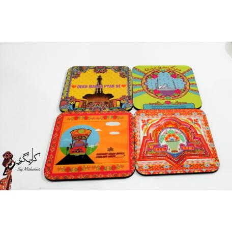 Truck Art Tea Coaster set of 4