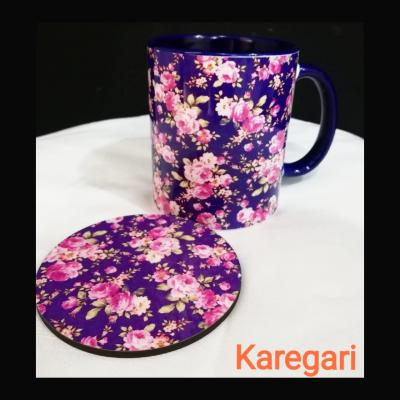 Pink Flower Printed customized Mug and Coaster