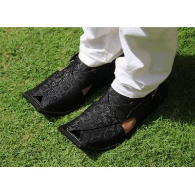 black self printed peshawari chapal