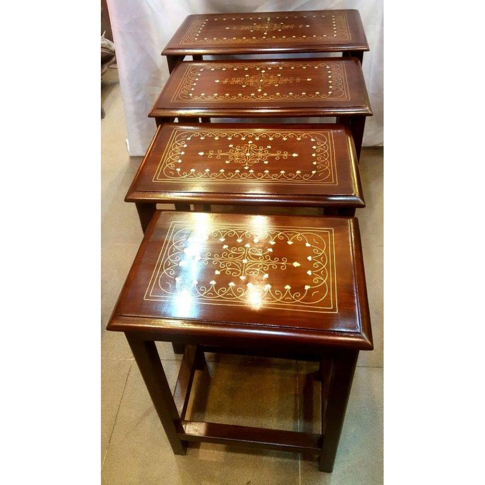 Beautiful Wooden Antique Handmade Brass Inlay Hand Craved Table Set