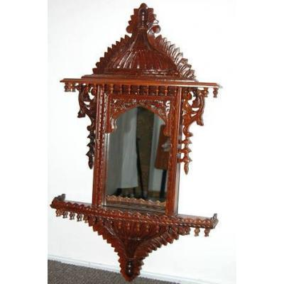 Wood Color Wooden Hand Carved Jharoka Mirror
