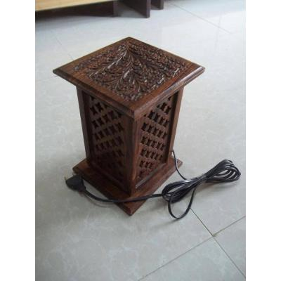Beautiful Wooden Hand Carved Tower Shape Thick Net Table Lamp