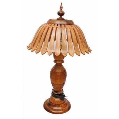 Beautiful Wooden Hand Carved Tower Shape Table Lamp