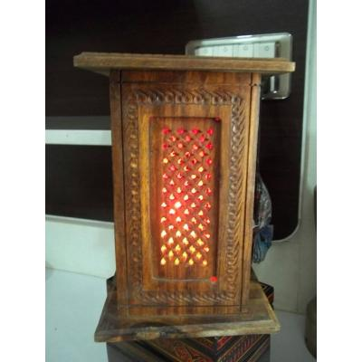 Beautiful Wooden Hand Carved Tower Shape Thin Net Table Lamp