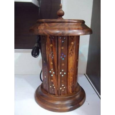 Round Shape Beautiful Wooden Hand Carved Table Lamp