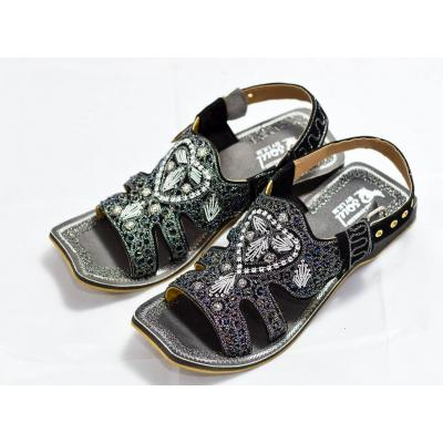 Black sandal tilla work for men