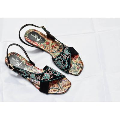 Black Kohati With Printed Sole