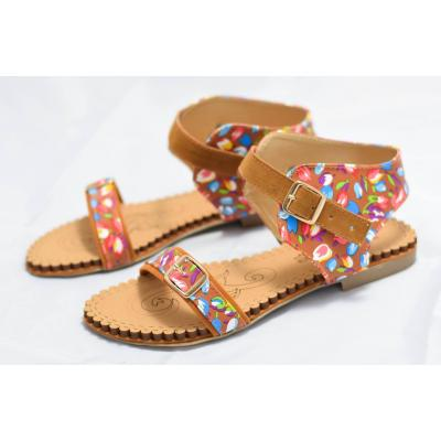 Flower pattern ladies sandal with soft sole