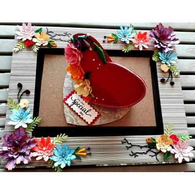 Beautiful Handmade Picture Frame Decorated with Quilled Paper Flowers