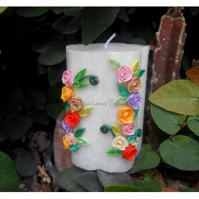 Beautiful Handmade Aromatic Candles Decorated with Quilled Paper Roses