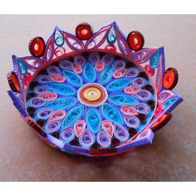 Beautiful Handmade Basket Decorated with Quilled Paper