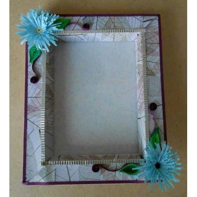 Beautiful Handmade Glass Photo Frame Decorated with Quilled Paper Flowers