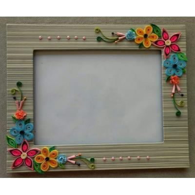 Beautiful Handmade Photo Frame Decorated with Quilled Paper Flowers